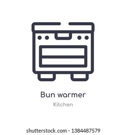 bun warmer outline icon. isolated line vector illustration from kitchen collection. editable thin stroke bun warmer icon on white background