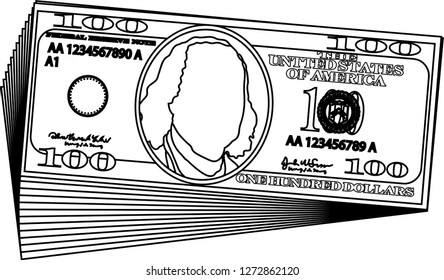 Bunch of 100 US dollar banknote outline