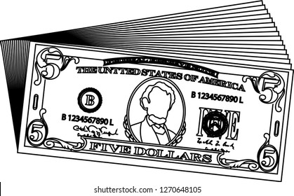 Bunch of 5 US dollar banknote outline