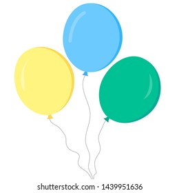 Bunch of balloons in cartoon flat style isolated on white background. Vector illustration