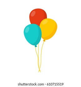 Bunch of balloons in cartoon flat style isolated on white background. Vector sett