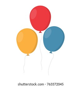 Bunch of balloons in cartoon flat style isolated on white background.