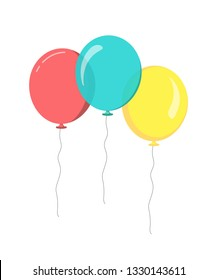 Bunch of balloons in flat style. blue red yellow bright balloons