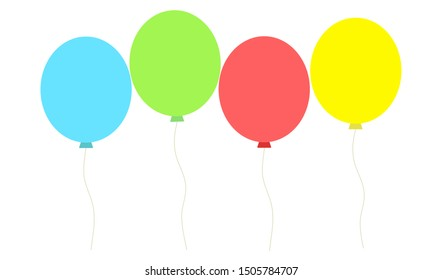 Bunch of balloons in flat style vector isolated on white background
