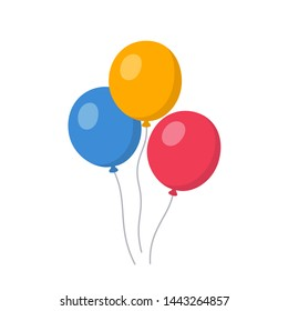 Bunch of balloons flying in the air. Happy birthday, party concept. Isolated vector illustration.