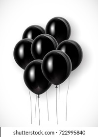 Bunch of black balloons with strings. Vector illustration for your graphic design.