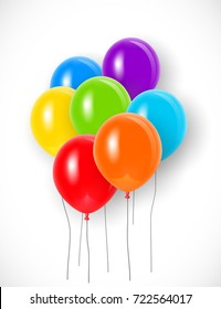 Bunch of bright colorful balloons with strings. Vector illustration for your graphic design.