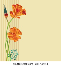 Bunch of california poppy flowers, buds and leaves on beige background with stripped border. Vector floral decoration for your card or document design with space for text.