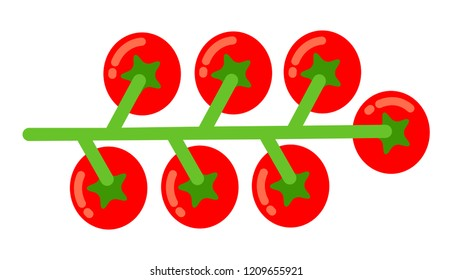 Bunch of cherry tomatoes flat single icon vector isolated on white