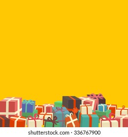 Bunch of Christmas gifts on yellow background - vintage look vector illustration