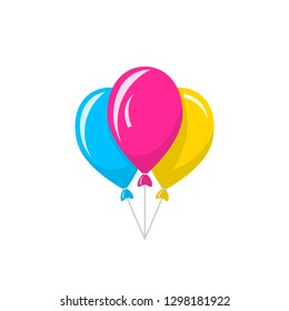 Bunch of colored balloons. Vector icon isolated on white background