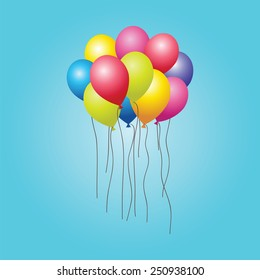 bunch of colorful balloons in the sky. vector
