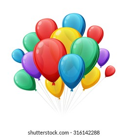 Bunch of colorful balloons vector illustration. Good for birthday party anniversary celebration designs.
