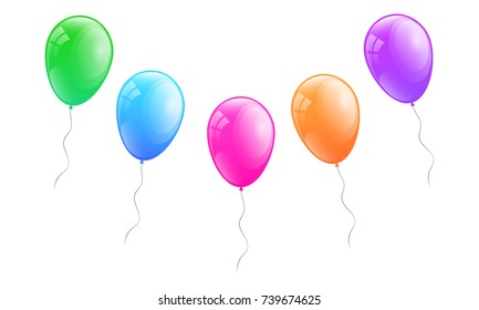 Bunch of colourful balloons isolated on white background. Vector.