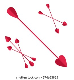 bunch of Cupid arrows.heart, love, festive attribute of St. Valentine's day, set of arrows of Cupid, vector icon illustration isolated layers on a white background