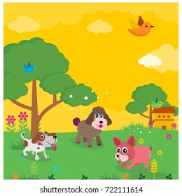 bunch of dogs in the meadow in yellow sky cartoon character