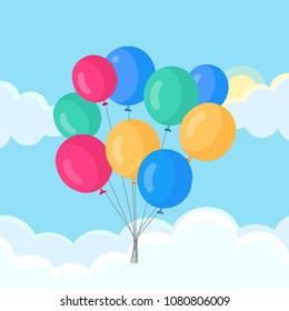 Bunch of festive air balloon in the sky with clouds isolated on  background. Group of ball with ribbon, toy. Happy birthday party. carnival. Vector flat cartoon design.