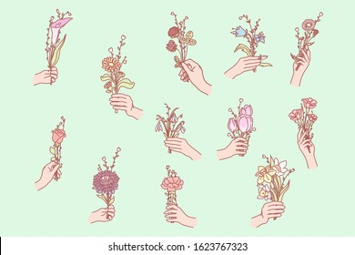 Bunch of flowers in hand. Hand holds flower. Womans hands hold flower. Collection of hands holding bouquets. Bundles of flower are taken. Bundle of floral elements are given away. Simple flat vector.