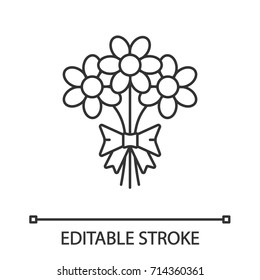 Bunch of flowers linear icon. Thin line illustration. Holiday bouquet. Contour symbol. Vector isolated outline drawing. Editable stroke