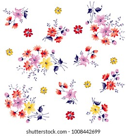 bunch of flowers pattern for textile and  print, wallpaper