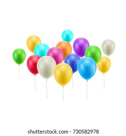 Bunch flying balloons isolated. Bunch of flying balloons on a white background isolated for designers and illustrators. A lot of gasbags in the form of a vector illustration
