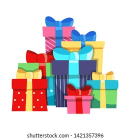 a Bunch of Gift Boxes. Colorful Gifts with Bows of Ribbons for the Holidays Christmas, New Year, Birthday, Valentine s Day. Flat Cartoon Isolated Illustration on a white background