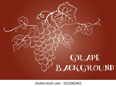 Bunch of Grapes with Leaves and Berries White Contour on Red Background. Vector