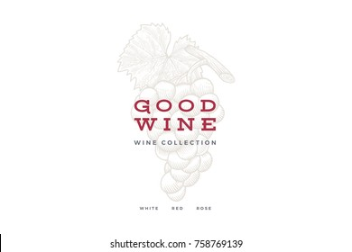 Bunch of grapes on light background. Engraved style. Logo template for wine store, wine card design, restaurant menu or bar. Vector illustration.