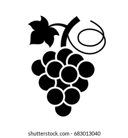 Bunch of grapes vector icon on white background