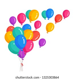 Bunch of helium balloon, flying air balls  isolated on white background. Happy birthday, holiday concept. Party decoration. Vector cartoon design