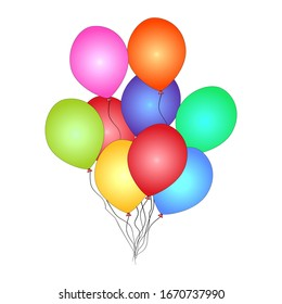 Bunch of helium balloon isolated on white background. Festive colored balloons for happy birthday, anniversary holiday invitation. Party decoration, Valentines day and celebrations event design.Vector
