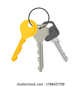 Bunch of keys. House appartment rental or sale concept. The concept of privacy, security and protection. Vector illustration in a flat trendy style.