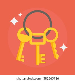 Bunch of keys vector illustration in a flat style. The concept of privacy, security and protection. Yellow house keys on a colored background.