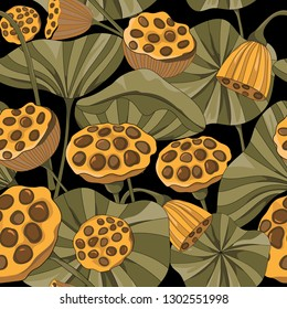 bunch of lotus seed pod and leaf seamless pattern on black