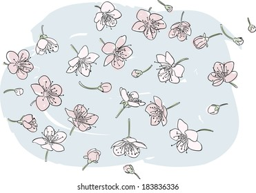 Bunch of pink flowers scattered on a blue background, isolated vector illustration