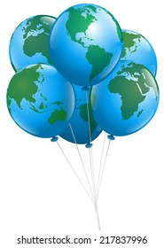 A bunch of planet earth balloons. Isolated vector illustration over white background.