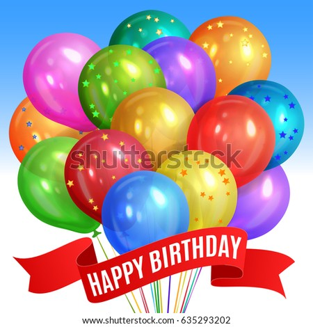 Bunch Of Realistic Colorful Helium Balloons Isolated On Sky Background Party Decorations For Birthday
