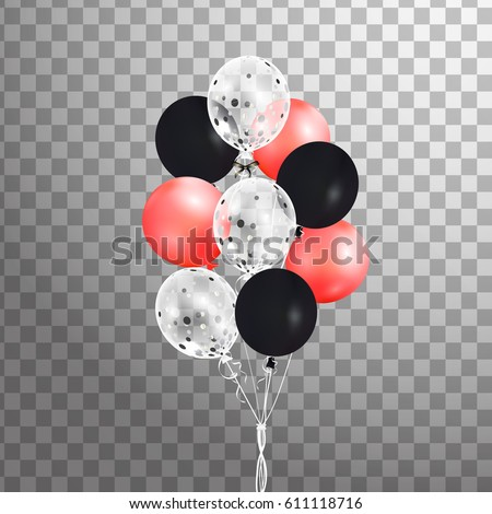 Bunch Red Black White Confetti Helium Stock Vector Royalty Free