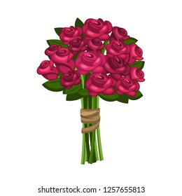 Bunch of red/pink roses, roses isolated on white background, Vector roses, Flower for you, valentine rose.