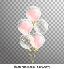 Bunch of Shine transparent balloon on background.  Party decorations for birthday, anniversary, celebration. Vector
