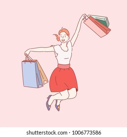 A bunch of shopping girls are jumping in joy. hand drawn style vector doodle design illustrations.