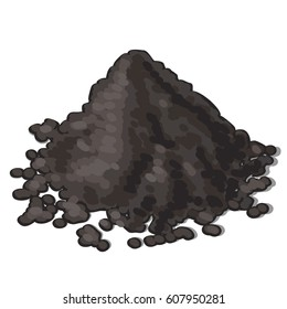 A bunch of soil isolated on white background. Vector cartoon close-up illustration.