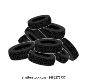 Bunch of tires isolated. heap of car tires. vector illustration