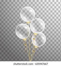 Bunch of transparent balloons isolated. Party decorations for birthday, anniversary, celebration, event design,wedding. vector illustration