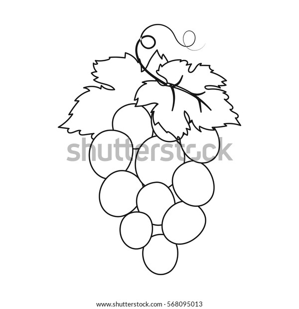 Bunch of wine grapes icon in outline style isolated on white background. Spain country symbol stock vector illustration.