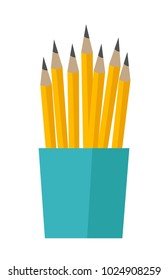Bunch of yellow lead pencils in a blue cup vector cartoon illustration isolated on white background.