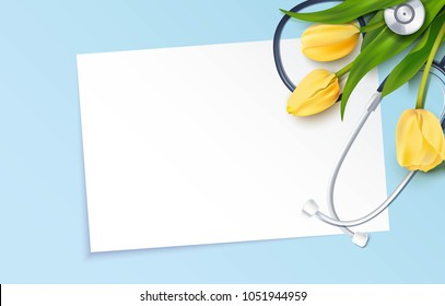 Bunch of yellow tulips and stethoscope on blue background. Happy nurse day. Vector illustration