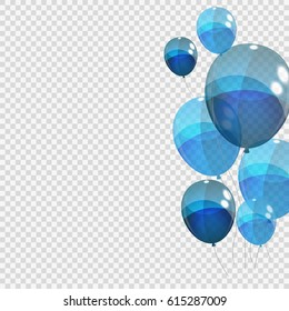 Bunche and Group of Blue Glossy Helium Balloons Isolated on Transparent Background. Vector Illustration EPS10