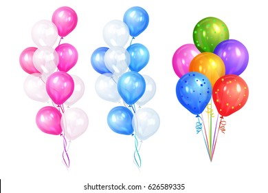 Bunches of colorful helium balloons isolated on white background. Party decorations for birthday, anniversary, celebration. Vector illustration