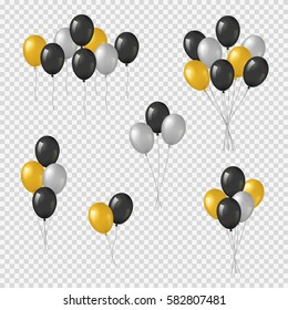 Bunches and groups of black, golden and silver helium balloons isolated on transparent background.